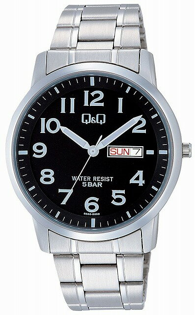 Q&Q 腕時計 キューアンドキュー 腕時計 ステンレスモデル アナログ ブレスレット 10気圧防水 ブラック W474-205 メンズ [4966006067903-W474-205] [メール便 日時指定代引不可]