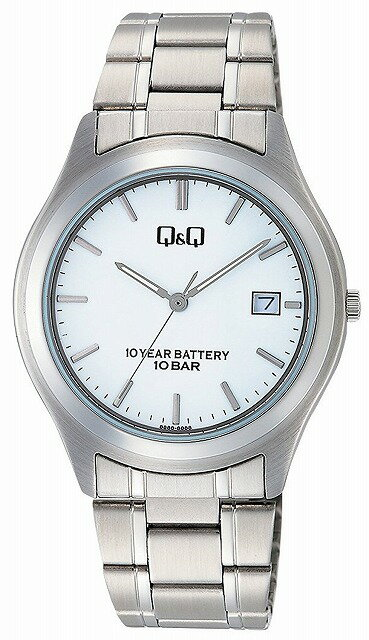 Q&Q 腕時計 キューアンドキュー 腕時計 センティニ アナログ ブレスレット 10気圧防水 ホワイト W476-201 メンズ [4966006067576-W476-201] [メール便 日時指定代引不可]