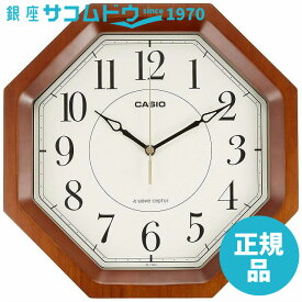 CASIO CLOCK カシオ シンプルデザイン電波アナログクロック IQ-1106J-5JF 濃茶木 IQ-1106J-5JF 掛け時計