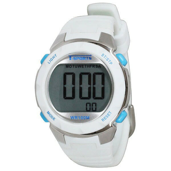 クレファー CREPHA デジタル腕時計 T-SPORTS 電池長持ち対応 TS-D060-WT ホワイト [4983666153906-TS-D060-WT]