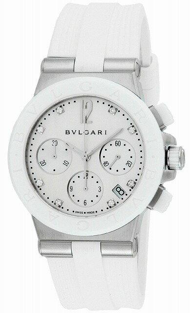 [当店だけのノベルティ付き] 【店頭受取対応商品】[3年保証] ブルガリ BVLGARI 腕時計 ウォッチ ディアゴノ ホワイト文字盤 ラバーベルト 自動巻 クロノグラフ ダイヤモンド 100M防水 DG37WSCVDCH/8 レディース [並行輸入品]