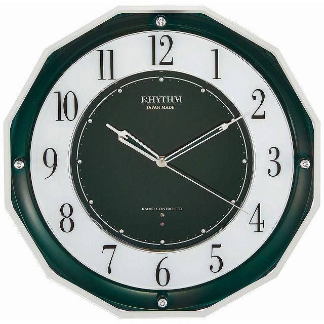 CITIZEN シチズン リズム時計 RHYTHM クロック[日本製]《高感度電波時計》 スリーウェイブ M846 緑メタリック 4MY846SR05