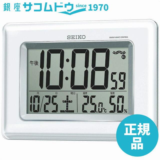 SEIKO CLOCK セイコー クロック 時計 電波デジタル掛け時計 ツイン・パ 掛置兼用 温湿度表示 ホワイト SQ424W[4517228028854-SQ424W]