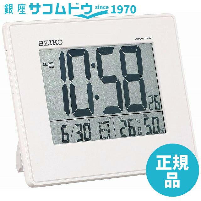 SEIKO CLOCK セイコー クロック 時計 大画面・温湿度電波デジタル目覚まし時計(白) SQ770W