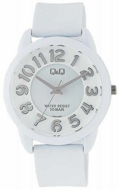 Q&Q 腕時計 キューアンドキュー カラフル ファッション アナログ 10気圧防水 グレー ホワイト VR66-002[4966006067392-VR66-002][メール便 日時指定代引不可][チープ チプシチ]