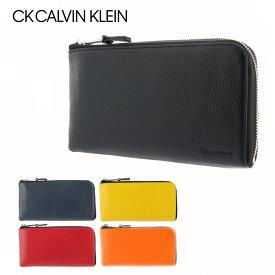 シーケー カルバンクライン 長財布 L字ファスナー メンズ ラップ 820221 CK CALVIN KLEIN スマートセルバッグ スマートクラッチ 多機能 大容量 本革 レザー [PO5][bef]