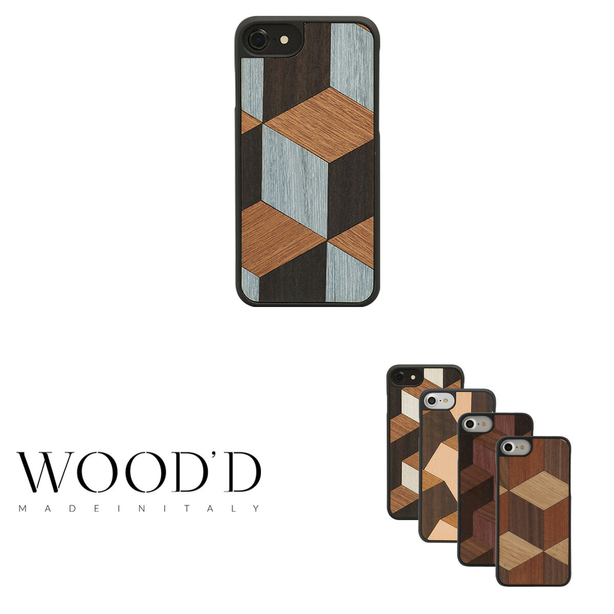 ウッド Wood'd iPhone8 iPhone7 iPhone6 ケース Real wood Snap-on covers GEOMETRIC 【 アイフォン スマホケース スマートフォン カバー 木製 ハンドメイド イタリア製 】【即日発送】