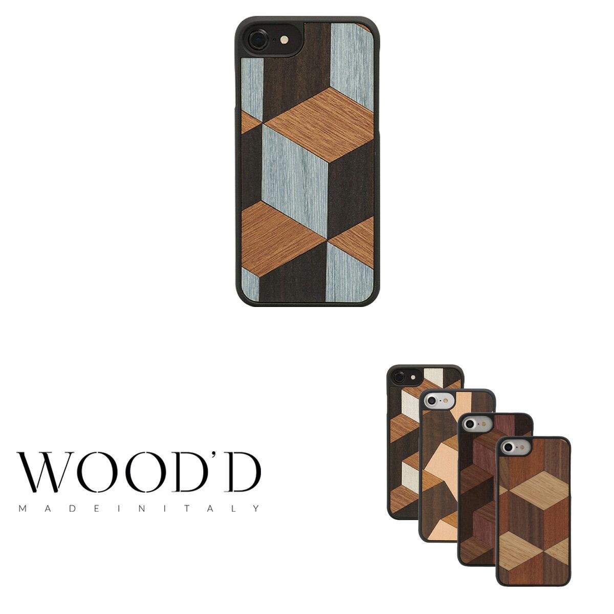 Wood'd iPhone8 iPhone7 iPhone6 ケース Real wood Snap-on covers GEOMETRIC レディース メンズ 木製 イタリア製 アイフォン スマホケース スマートフォン カバー ハンドメイド ウッド 【PO10】【bef】【即日発送】