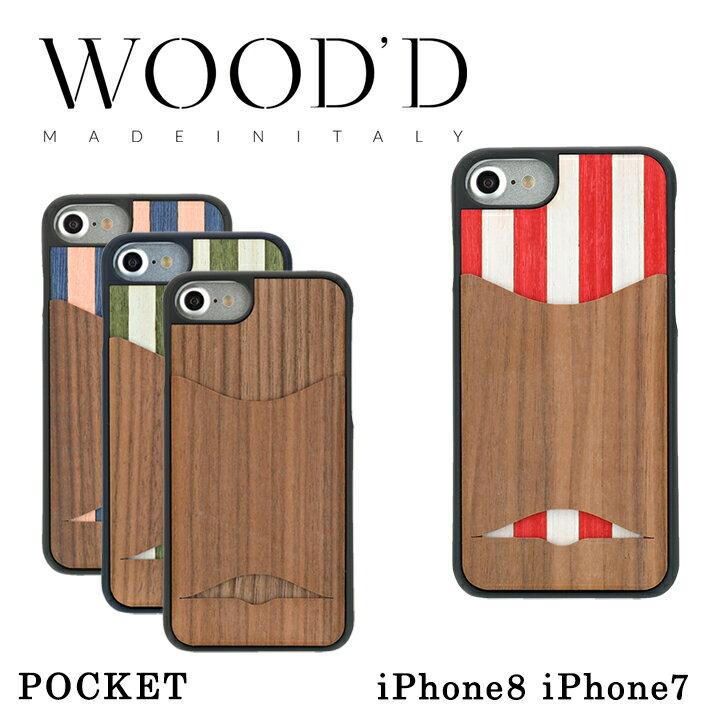 Wood'd iPhone8 iPhone7 ケース Real wood Snap-on covers POCKET レディース メンズ アイフォン スマホケース スマートフォン カバー ウッド 【PO10】【bef】【即日発送】