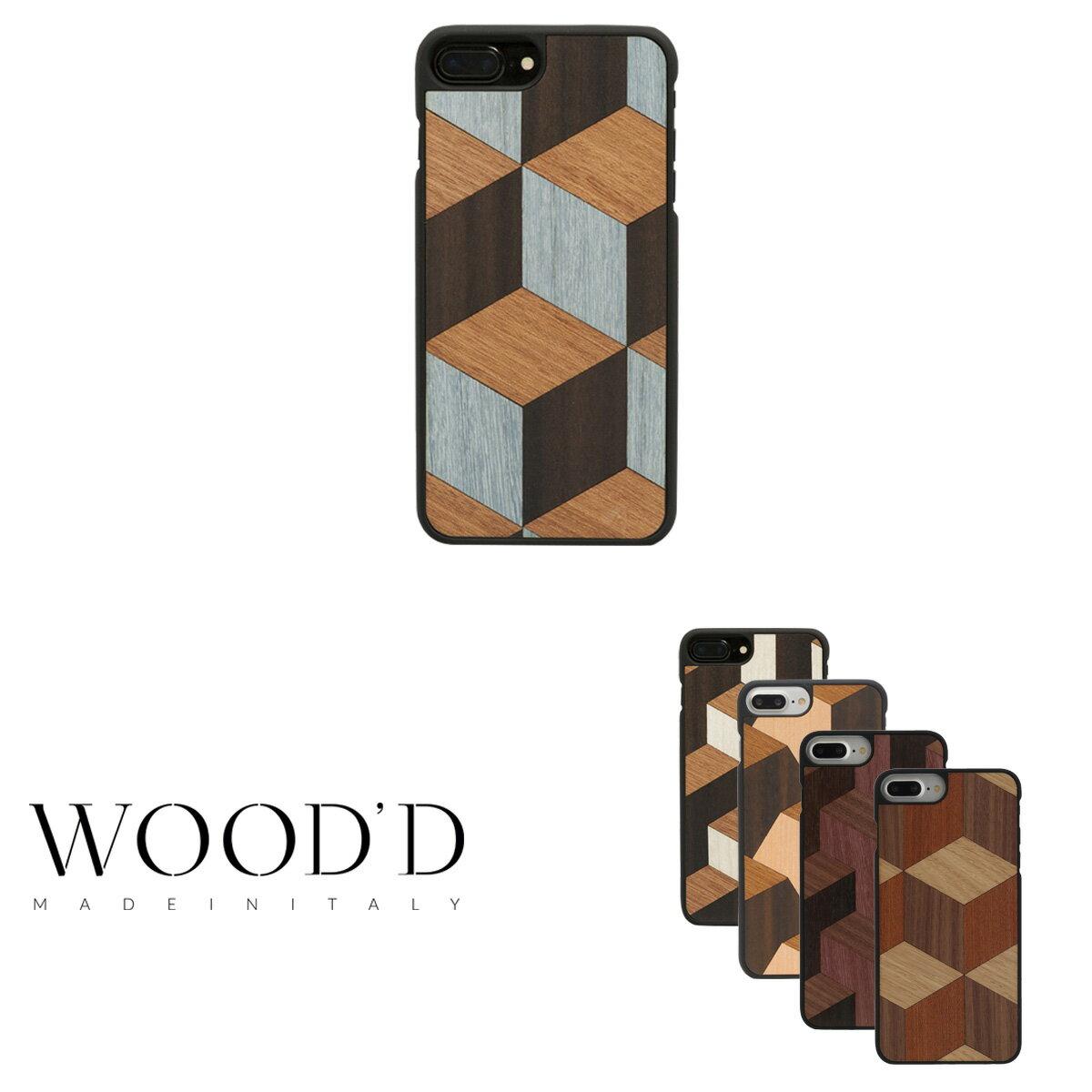 Wood'd iPhone8Plus iPhone7Plus iPhone6Plus ケース Real wood Snap-on covers GEOMETRIC レディース メンズ 木製 イタリア製 アイフォン スマホケース スマートフォン カバー ハンドメイド ウッド 【PO10】【bef】【即日発送】
