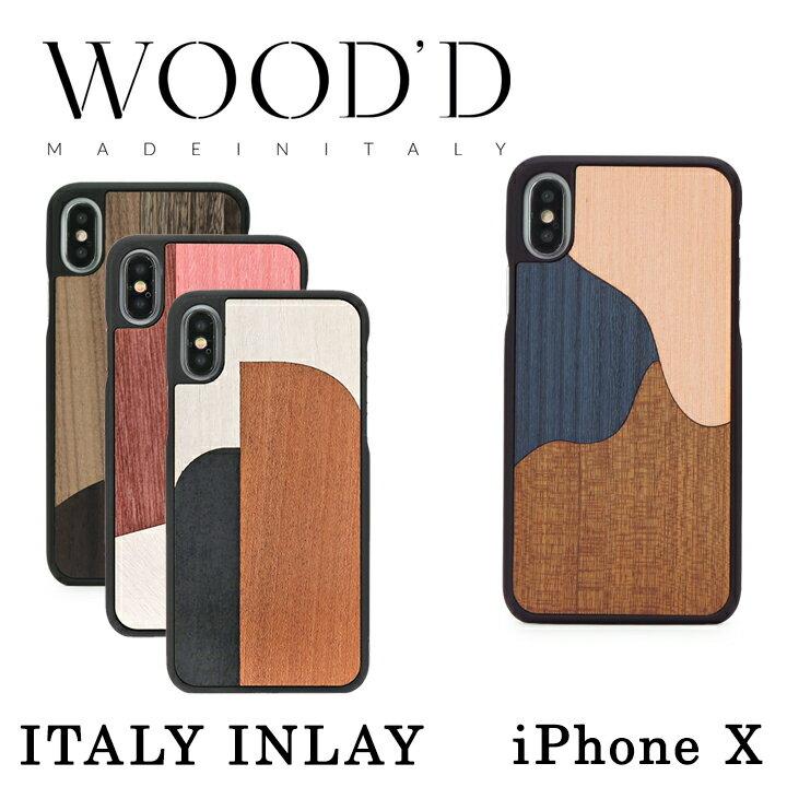 Wood'd iPhoneX ケース Real wood Snap-on covers ITALY INLAY レディース メンズ アイフォン スマホケース スマートフォン カバー ウッド