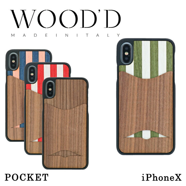 Wood'd iPhoneX ケース Real wood Snap-on covers POCKET レディース メンズ アイフォン スマホケース スマートフォン カバー ウッド 【PO10】【bef】【即日発送】
