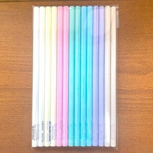 シンプル 無地 丸軸 パステルカラー鉛筆 2B 14本セット 消しゴム(女の子向けまとまるくん)1個付き 日本製