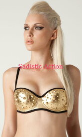 56c6e49949  即納 L.A.Roxx Metallic push-up bra in gold with gold spikes