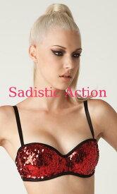 81a50d4b79  即納 L.A.Roxx Burlesque Sequin push-up bra in RED  L.A.Roxx