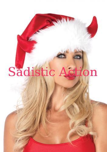 【即納】Leg Avenue Devil horn Santa hat. 【Leg Avenue (ストッキング、ランジェリー、衣装、コスチューム、小物)】【コスチュームアクセサリー】【クリスマスコスチューム】【LEG-CR-A2025】