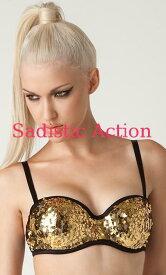 d83678d949  即納 L.A.Roxx Burlesque Sequin push-up bra in GOLD  L.A.Roxx
