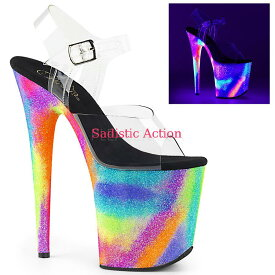 【即納】Pleaser Platform Ankle Strap Sandal Featuring Blacklight Reactive Galaxy Effect Platform Bottom 【Pleaser (ブーツ、サンダル、シューズ)】【サンダル】【PL-SAN-FLAM808GXY/C/NGXYG】