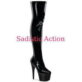 【即納】PLEASER Platform Boots Thigh High BK/M 【Pleaser (ブーツ、サンダル、シューズ)】【ブーツ】【PL-BO-ADORE-3000/B/M】