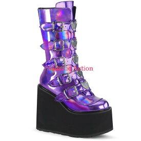 【即納】Demonia Platform Mid-Calf Boot Featuring 5 Buckle Straps 【コスチュームアクセサリー】【ブーツ】【DEMONIA(サンダル・フェスティバルシューズ・ブーツ)】【DM-BO-SWI230/PPHG】