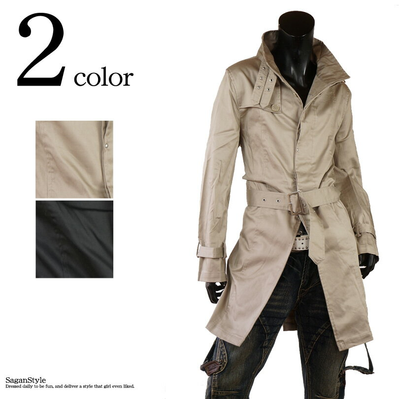 トレンチコート トレンチ メンズ コート シングルトレンチ アウター ベルト付 メンズ ロングコート ショップコート 新作 スプリングコート ジャケット ライトアウター シンプル 黒 ベージュ ブラック BITTER系 ビター系G250911-09