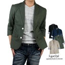 【送料無料】テーラードジャケット ジャケット 7分袖 メンズ 麻混ストレッチテーラードジャケット 涼しい リネン 麻 …