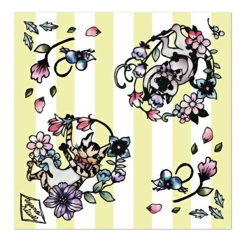 【メール便可能】メガネクロス 切り絵デザイン 猫 切り絵作家 佐川綾野デザイン 20×20cm