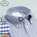 綿100%オックスフォードBD(ボタンダウン)シャツイージーケア長袖ワイシャツCREW(クルーdocw00-17ブルーチェック青)ボタンダウンカッターシャツきれいめ着こなしおしゃれ