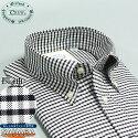 オックスフォードシャツ綿100%オックスフォードBD長袖メンズワイシャツCREWクルーブラックチェック黒ボタンダウンカッターシャツ標準体型