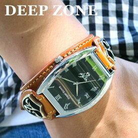 3adaf6d890 腕時計 ブレスウォッチ イタリアン レザー Deep Zone トノーフェイス ブラックフェイス ブラウンベルト 専用ボックス付き
