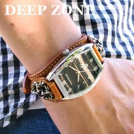 f1d8618977 腕時計 ブレスウォッチ イタリアンレザー Deep Zone トノーフェイス ブラックフェイス ブラウンベルト クロスコンチョ 専用
