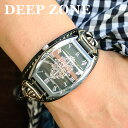 腕時計 ブレスウォッチ イタリアンレザー Deep Zone トノーフェイス ジルコニア ブラックフェイス ブラックベルト クロスコンチョ 専用ボックス付き #617-13 ◆ 本革 皮 ホワイトメタル 鞄 休日 彼氏 父親 プレゼント ギフト メンズウォッチ ◆