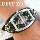 腕時計 ブレスウォッチ イタリアンレザー Deep Zone トノーフェイス ジルコニア ブラックフェイス ブラックベルト ロ…