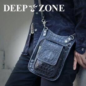 ヒップバッグ ショルダーバッグ メンズ 本革 レザー 2WAY レザー クロコ型押し Deep Zone