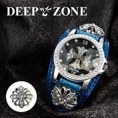 腕時計本革ブレスウォッチブルージルコニアクロスイタリアンレザー