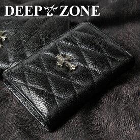 折り財布 本革 キルティング レザー クロスモチーフ DEEP ZONE プレゼント 誕生日