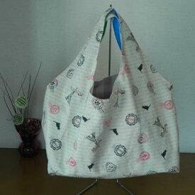 【送料無料】 『ねこ柄』大好きコットン生地 ≪手作り一点ものです≫ 飽きのこないバッグ 使いやすい大きさです