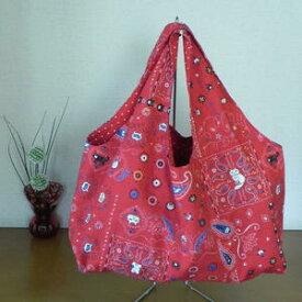 【送料無料】 ねこ柄 大好きコットン生地 ≪手作り一点ものです≫ 飽きのこないバッグ 使いやすい大きさです
