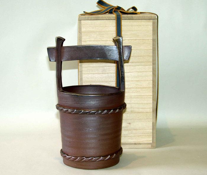 花器 花瓶 フラワーベース 備前焼 手桶花入(桟切)