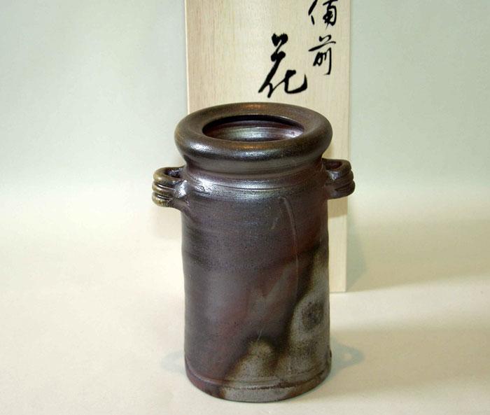 花器 花瓶 フラワーベース 備前焼 耳付花入(桟切)