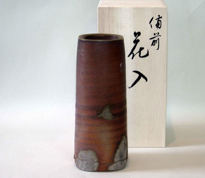 花器 花瓶 一輪挿し 備前焼 四方筒花入(桟切)