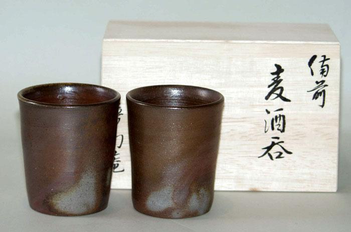 備前焼 ビアマグ フリーカップ ビールグラス 焼酎グラス ペアセット 備前焼 組麦酒呑(小)
