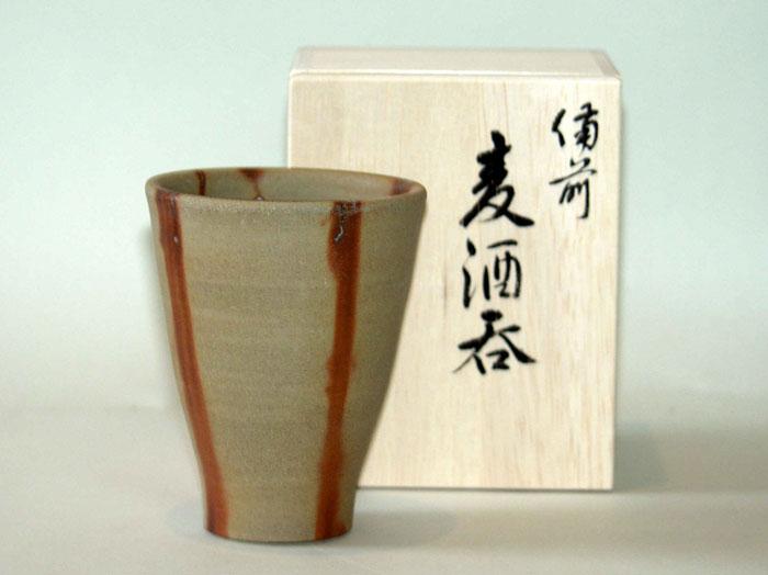 備前焼 ビアマグ フリーカップ ビールグラス 焼酎グラス タンブラー 備前焼 広口麦酒呑(緋襷)