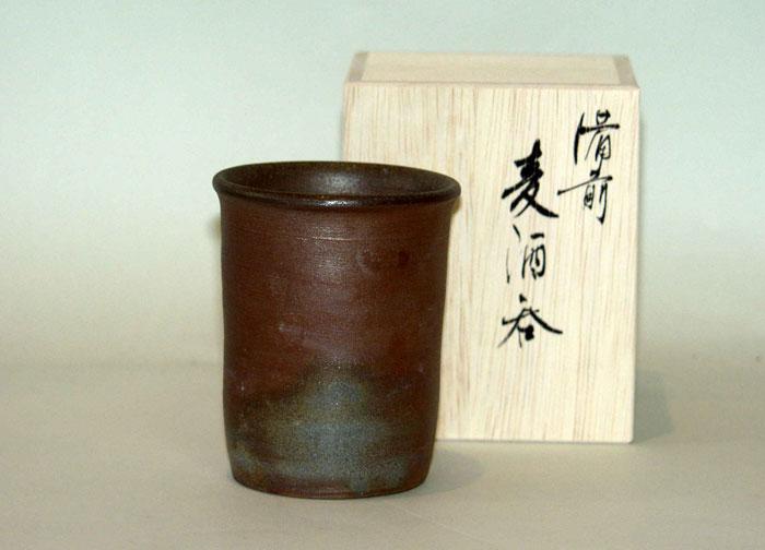 備前焼 ビアマグ フリーカップ ビールグラス 焼酎グラス タンブラー 備前焼 麦酒呑(小)(桟切)