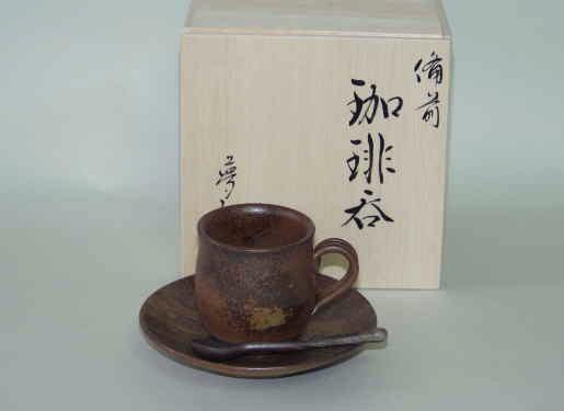 備前焼 コーヒーセット コーヒーカップ 珈琲碗皿 備前焼 珈琲セット(胡麻)スプーン付