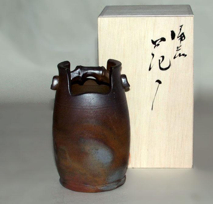 花器 花瓶 一輪挿し 備前焼 手桶中花入(桟切)