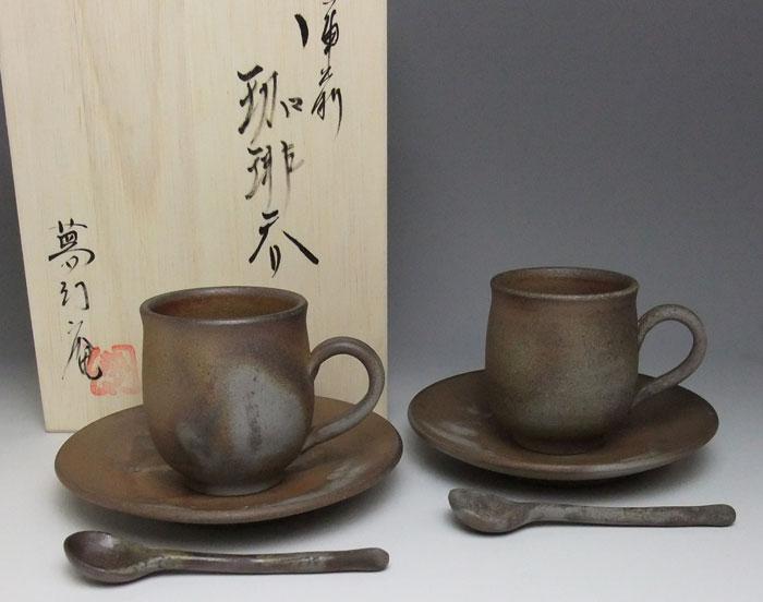 備前焼 コーヒーセット コーヒーカップ 珈琲碗皿 ペアセット 備前焼 組珈琲セット(桟切)スプーン付 送料無料