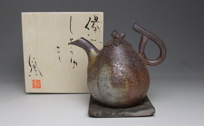 醤油差し 調味料入 備前焼 斉藤隆作 しょうゆ差し(隆-02)
