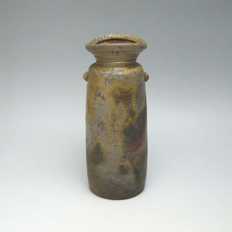 花瓶 花器 備前焼 桟切 6.5寸耳付 花入