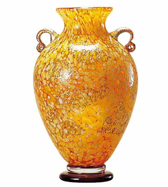 花瓶 花器 フラワーベース 花入 ビードロ 津軽びいどろ 壷 十和田紅葉